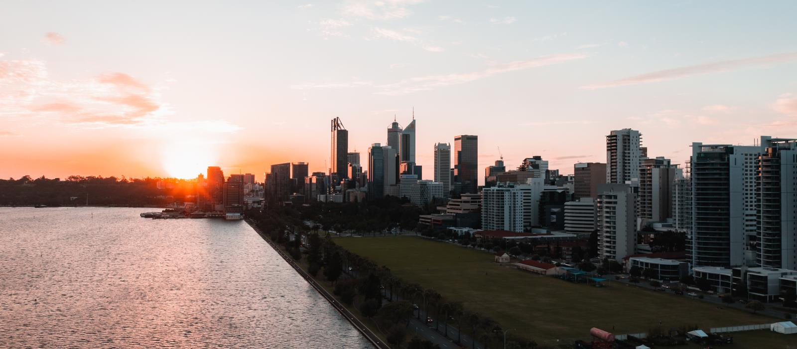 City Skyline with Sunset taken by drone