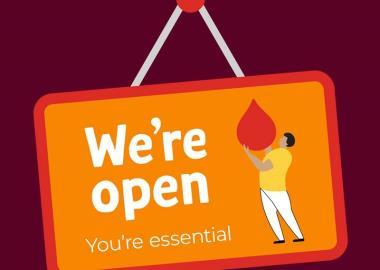 Lifeblood we're open sign