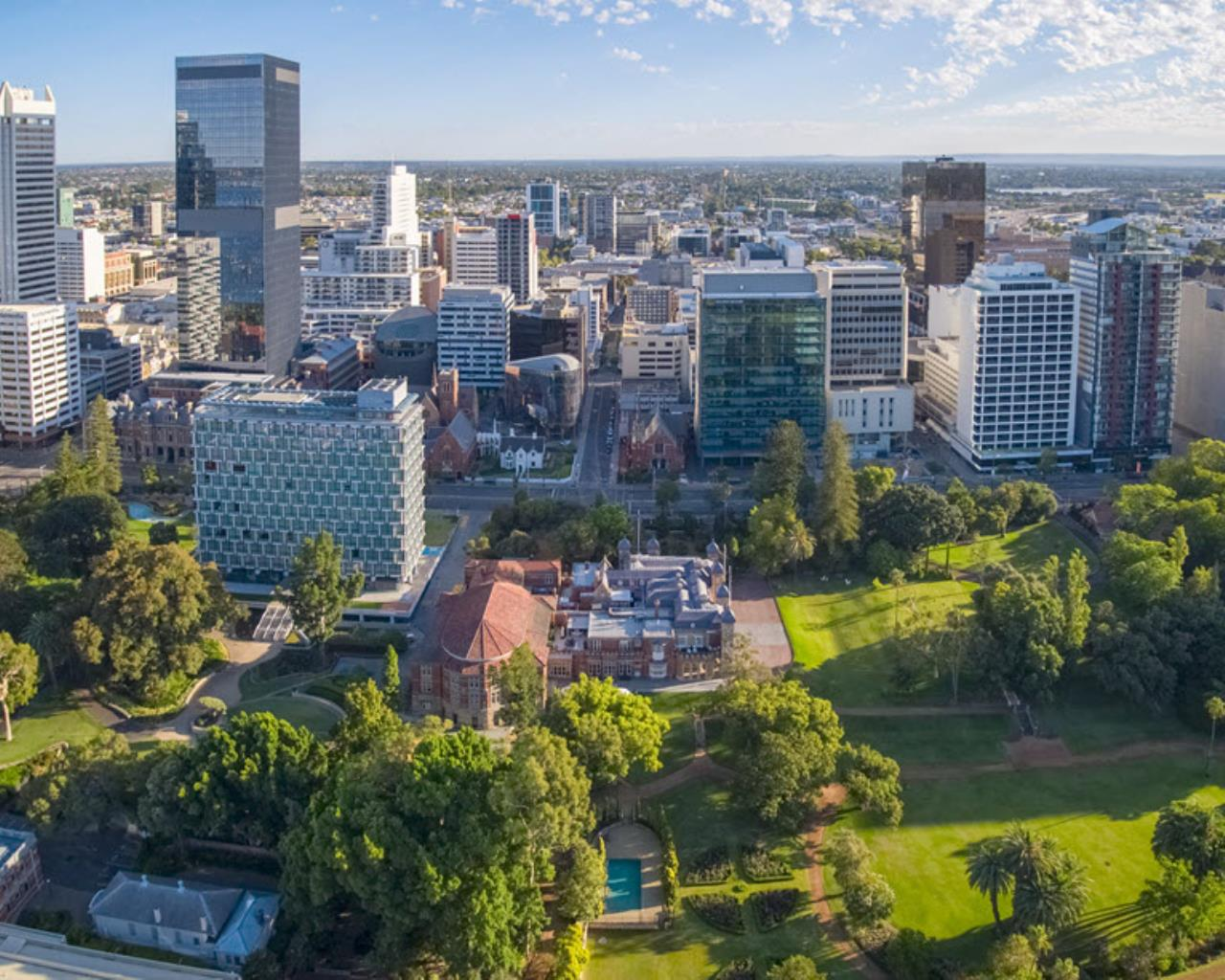 Perth city view from sky over government house