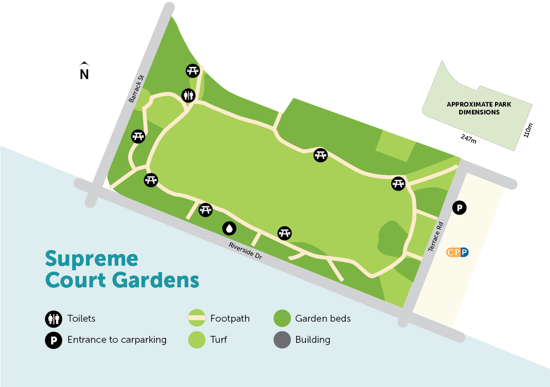 Digital map of Supreme Court Gardens with legend