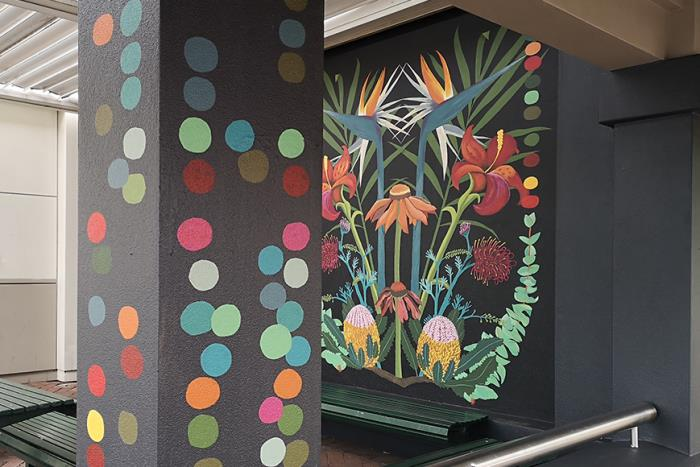 Photo of colourful mural on Mends Street with dots