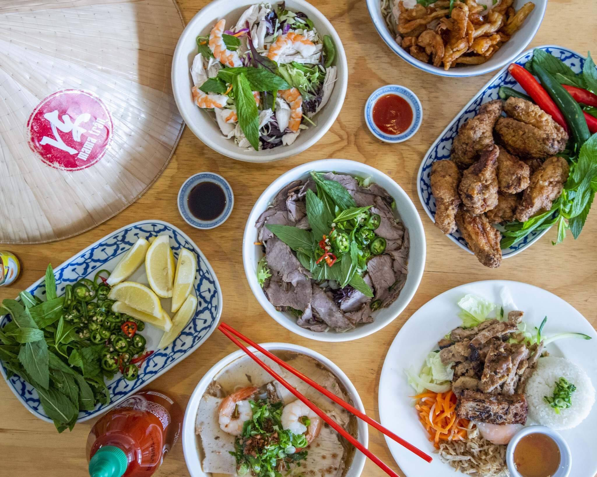 A spread of dishes from Mama Tran
