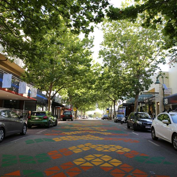 Middle of Mends Street with trees