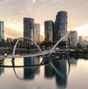 Elizabeth Quay at sunrise 2020